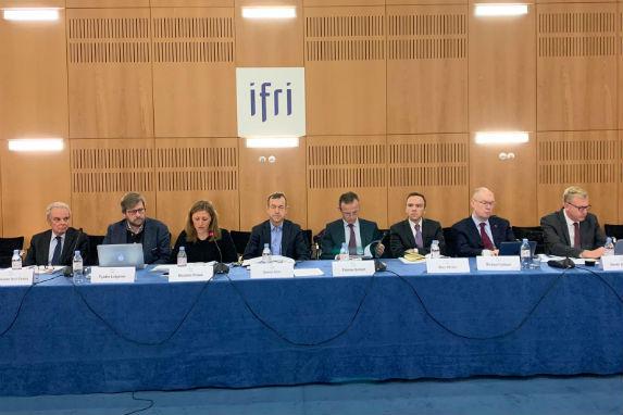 "Ferdinando Nelli Feroci, Fyodor Lukyanov, Nicoletta Pirozzi, and Daniel Gros during the discussion ""The Future of the European Union."""