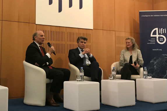 """Richard Haass, Thierry de Montbrial, and Sophie Pedder during the public event """"The Changing Political Agenda and Role of Think Tanks in the Next Decade."""""""