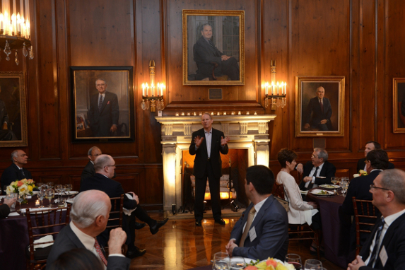Richard Haass welcomes participants during the opening dinner of the Council of Councils Third Annual Conference at Harold Pratt House (Don Pollard).