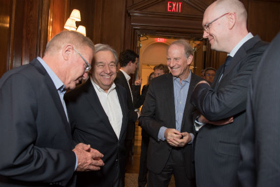 Amos Yadlin, António Guterres, Richard Haass, and Michael Fullilove before the keynote discussion at the conference (Melanie Einzig).
