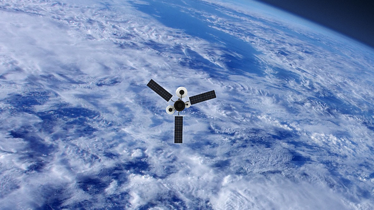 A Spy Satellite orbiting the cloud covered Earth