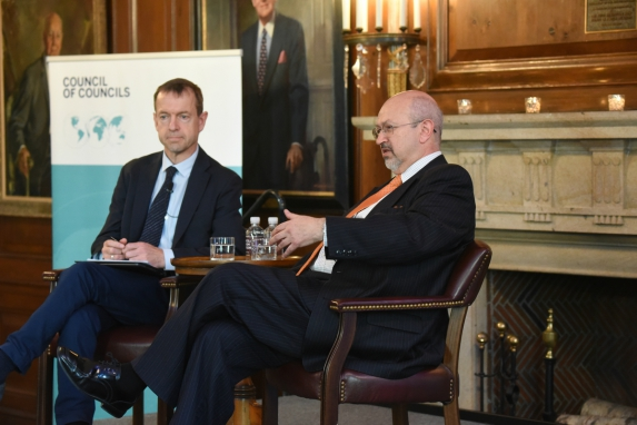 Daniel Gros and Lamberto Zannier speak during the CoC Fifth Annual Conference. (Don Pollard)