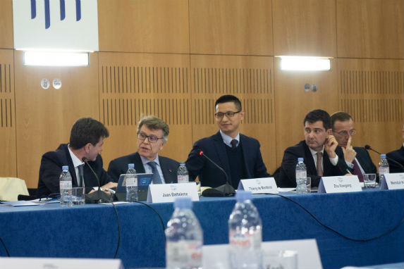 """Juan Battaleme, Thierry de Montbrial, Zha Xiaogang, and Memduh Karakullukçu during the discussion """"The Weaponization of Economic Interdependence."""""""