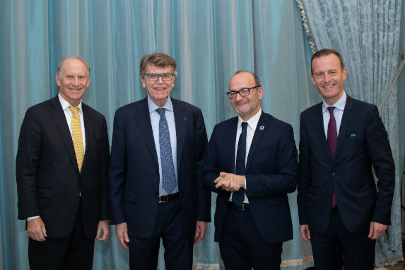 Richard Haass, Thierry de Montbrial, Rémy Rioux, and Thomas Gomart at the CoC twelfth regional conference in Paris.