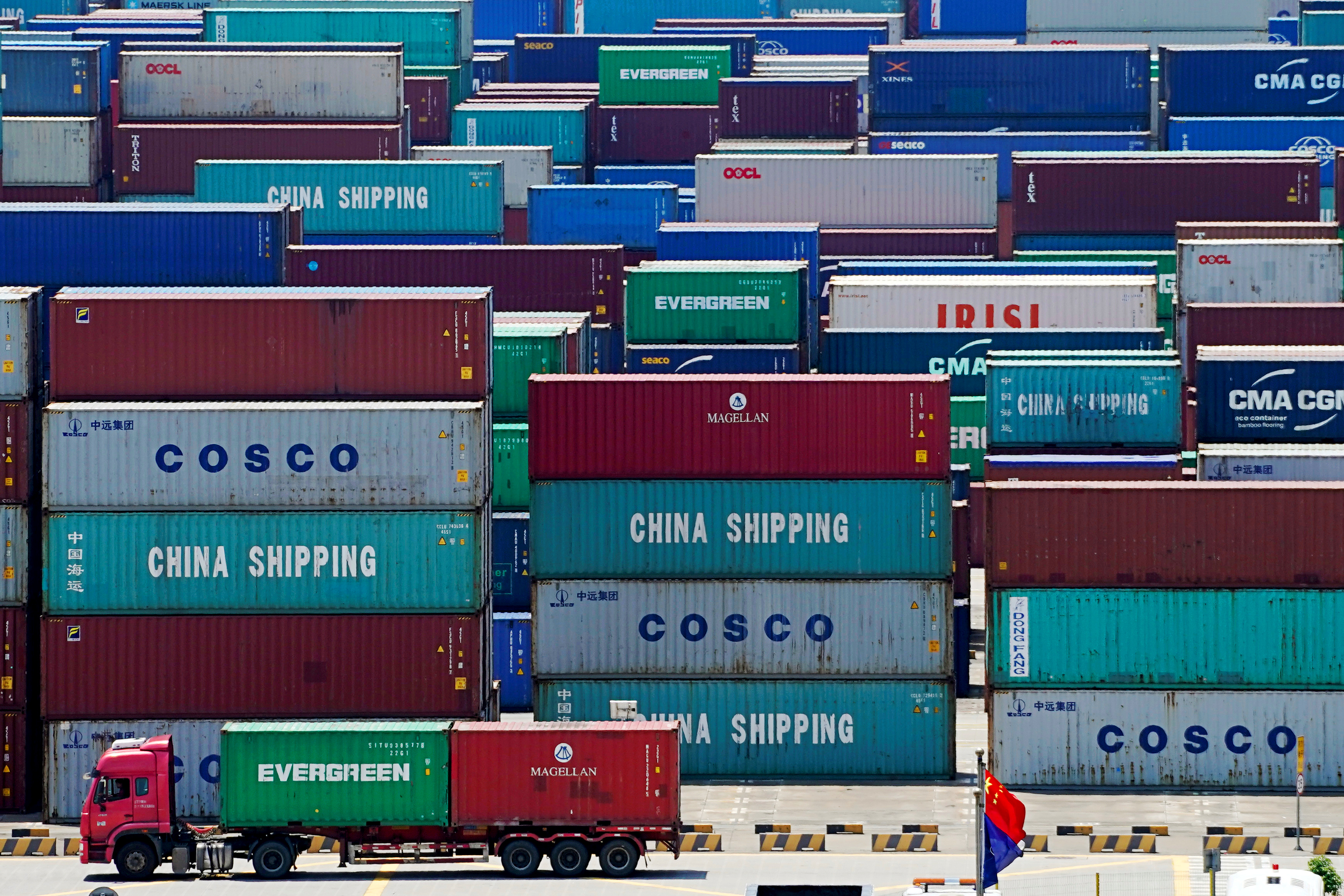 Containers are seen at the Yangshan Deep Water Port in Shanghai, China on August 6, 2019.