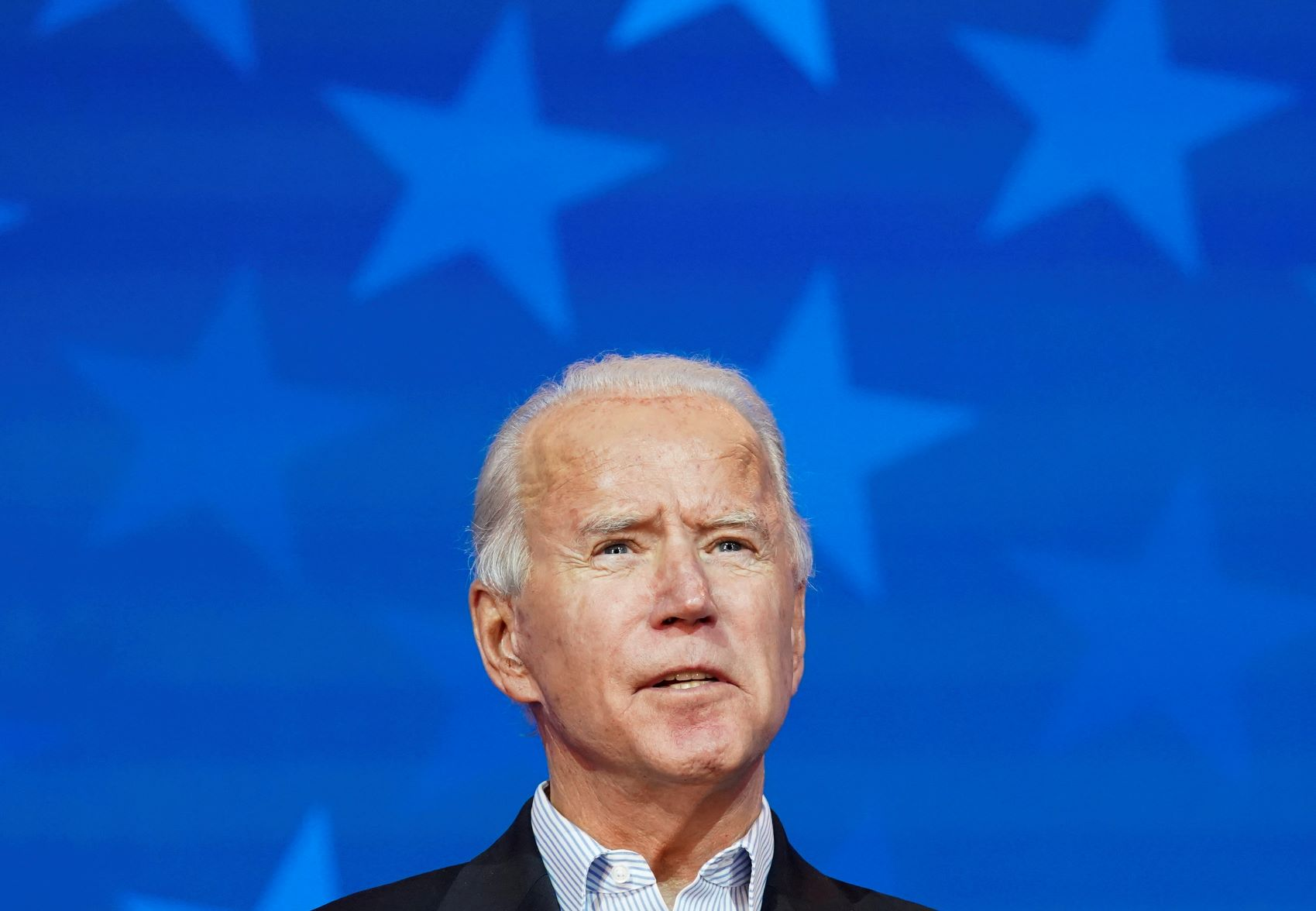 Democratic U.S. presidential nominee Joe Biden makes a statement on the 2020 U.S. presidential election results during a brief appearance before reporters in Wilmington, Delaware on November 5, 2020.